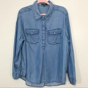 Earl Jeans | Blue Chambray Plus Size Pullover Top